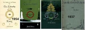 São as 4 capas originais, baseadas nos desenhos do Tolkien. Fiz questão de colocar as datas!