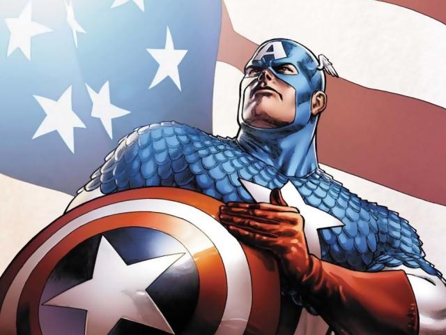 Ele não usa meramente as cores, ele usa a bandeira americana