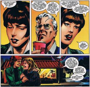 Samaritan e Vitória Alada discutem prioridades durante um encontro. (Astro City)
