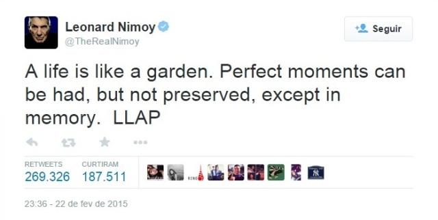 """""""A vida é como um jardim.  Podemos ter momentos perfeitos, mas não preservados, exceto na memória."""""""