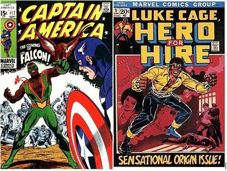 As estreias do Falcão (1969) e de Luke Cage (1972), os primeiros heróis negros e americanos da Marvel.