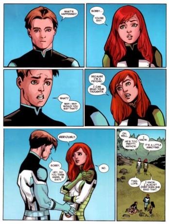 Cena de All-New X-Men #40 (abril de 2015): a telepata indiscreta Jean Grey revela a seu colega Bobby Drake, o Homem de Gelo, que sabe que ele é gay. A história causou controvérsia entre os fãs.