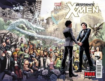 Capa de Astonishing X-Men #51 (2012), com o Estrela Polar (à dir.) e seu noivo: o primeiro casamento gay do Universo Marvel.