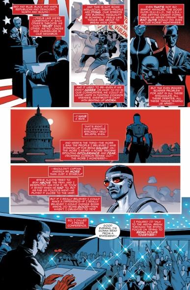 """""""...Eu tenho um lado."""": Em Captain America: Sam Wilson #1, o antigo Falcão e agora novo Capitão América revela suas posições política em uma coletiva de imprensa. No texto, referências ao abuso de poder por parte das agências governamentais de segurança (a N.S.A., real, e a Shield, fictícia) e à atual polarização político-ideológica dos EUA."""