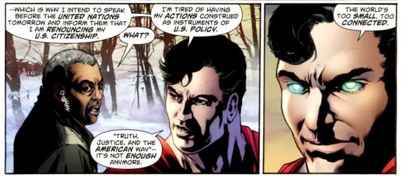 """Action Comics #900, de David S. Groyer. O Superman diz """"Verdade, Justiça e o Estilo de Vida Americano não são mais o bastante"""""""