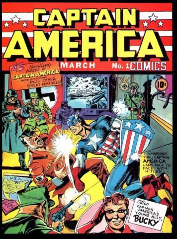 Capa da primeira edição do Capitão América. Vai dizer que isso não é político?