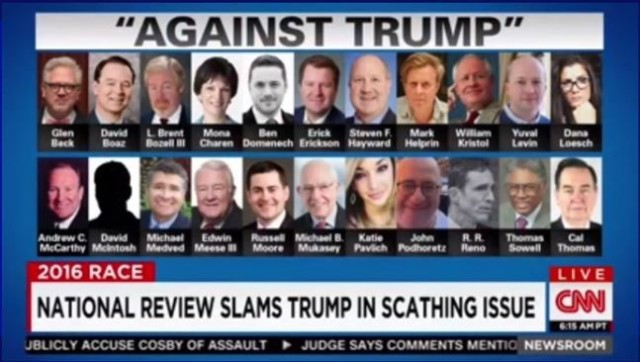 Alguns dos ativistas e intelectuais conservadores que denunciaram Trump na National Review, uma das mais tradicionais publicações da direita americana.