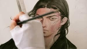 Trabalho com o pincel japonês fudê