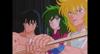 Shiryu, Shun e Hyoga colocando seus cosmos na flecha que Seiya usará para atacar Poseidon
