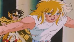 Hyoga protegendo Seiya