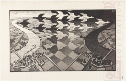 M.C. Escher. Dia e Noite. Xilogravura. 1938