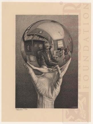 Mão com reflexo numa esfera. Litografia. 1935